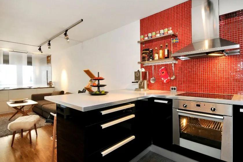 Электрическая плита в интерьере квартиры-студии 25 кв. м