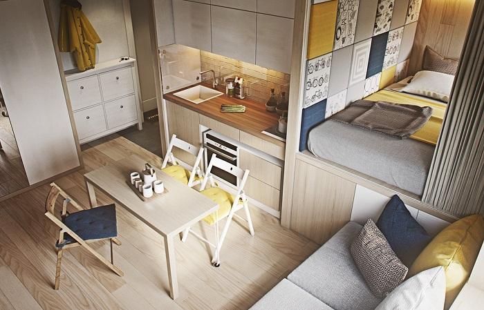 Ярусы в дизайне однокомнатной квартиры