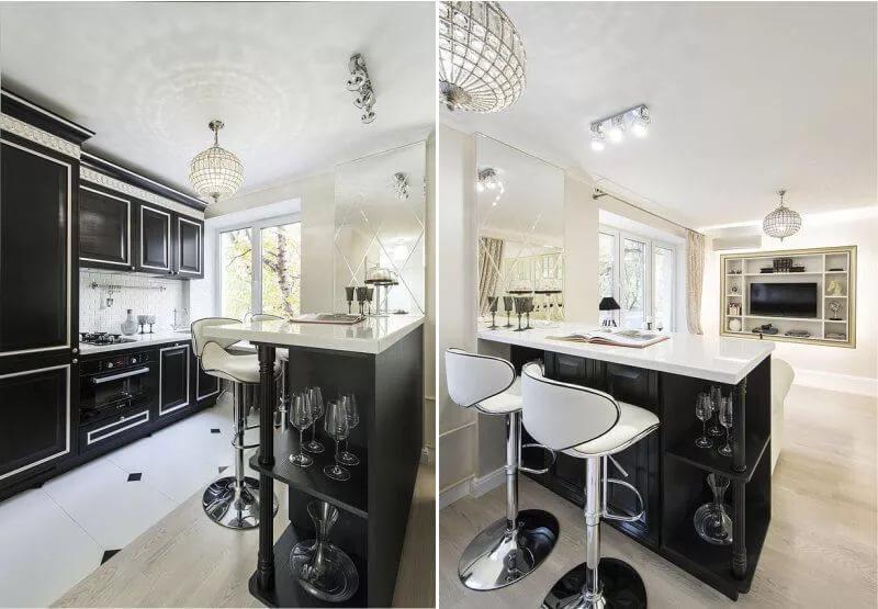 Барная стойка в дизайне кухни в однокомнатной квартире