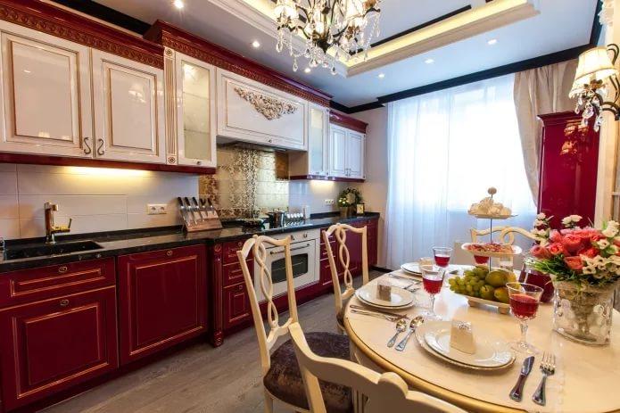 Вариант оформления кухни 10 кв.м. в классическом стиле