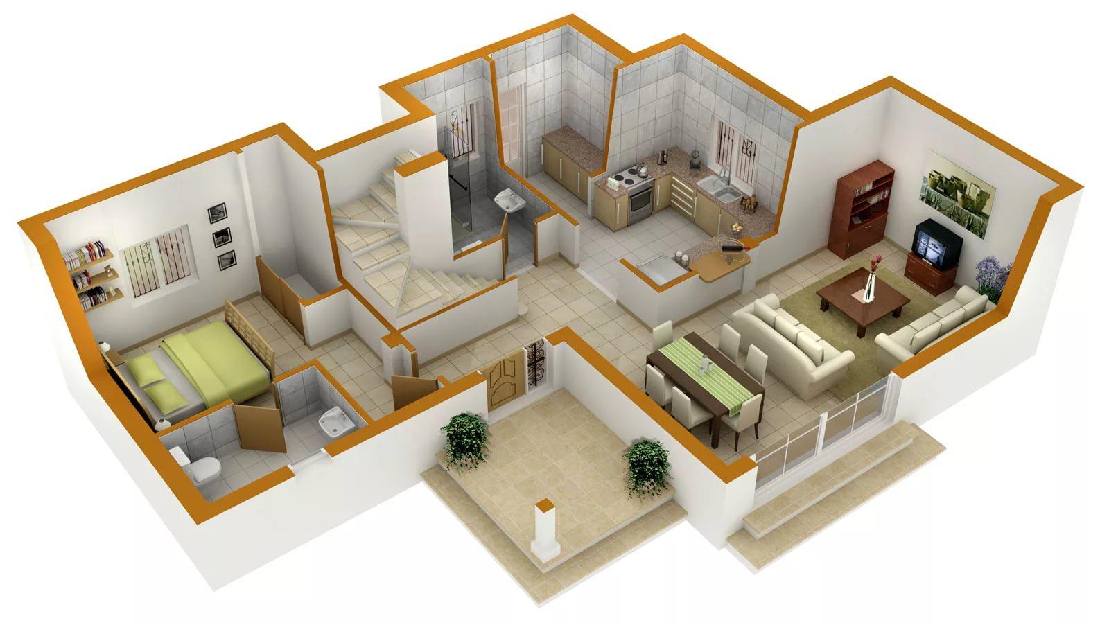 Вариант современного дизайна квартиры-студии в 3d модели