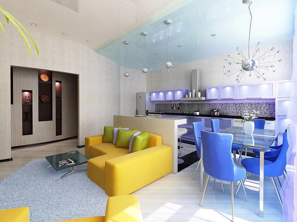 Визуальное зонирование в трехкомнатной квартире