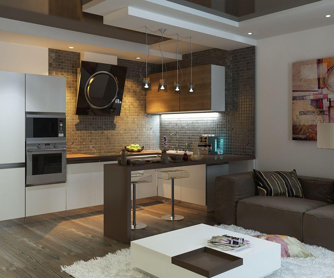 Встроеная бытовая техника на кухне гостиной