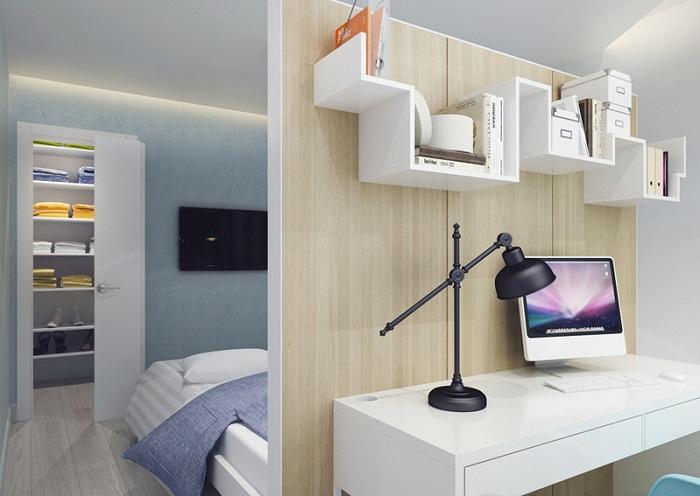 Выделение рабочего места в трехкомнатной квартире