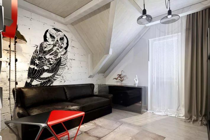 Графити на стенах в малогабаритной квартиры в стиле лофт