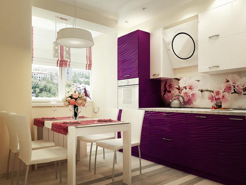 Дзай светлой кухни 10 кв.м. с использование контрастной мебели