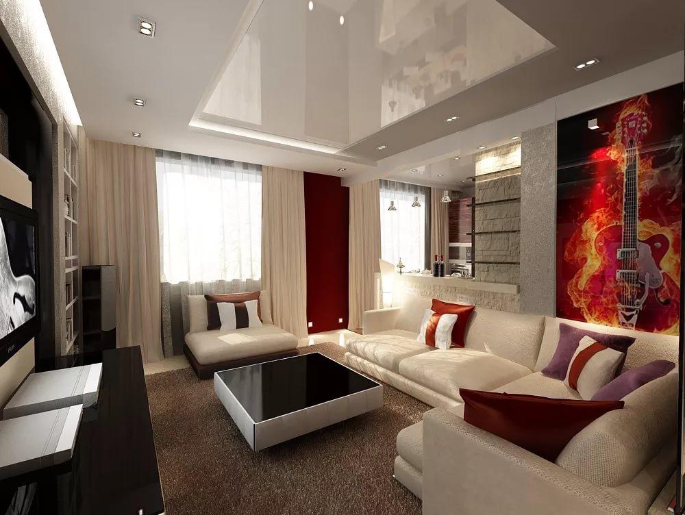 Диван в интерьере трехкомнатной квартиры