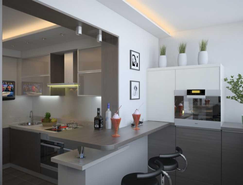 Дизайн балкона объединенного с кухней в квартире-студии