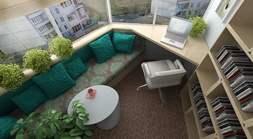 Дизайн большой лоджии в трехкомнатной квартире