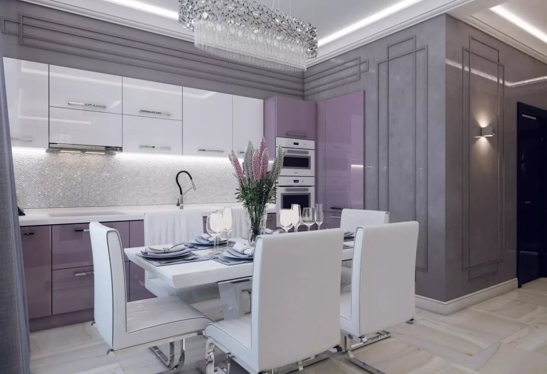 Дизайн в светлых тонах кухни в квартире-студии