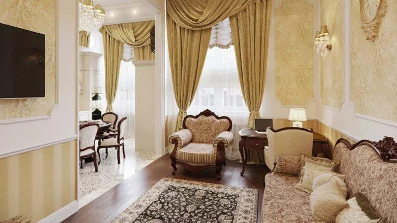 Дизайн гостинной в трехкомнатной квартире в классическом стиле