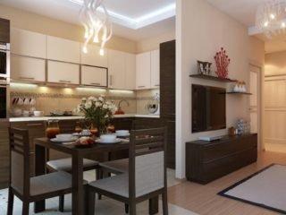 Дизайн интерьера кухни в однокомнатной квартире