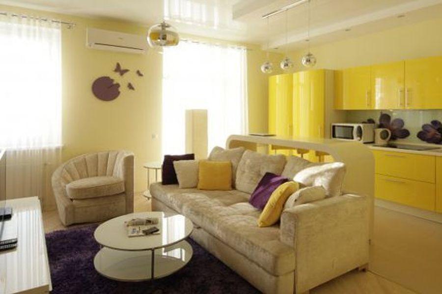 Дизайн квартиры-студии в желтых тонах