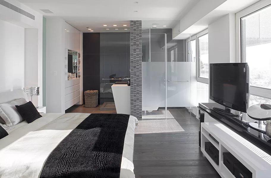 Дизайн квартиры-студии в контрастных тонах