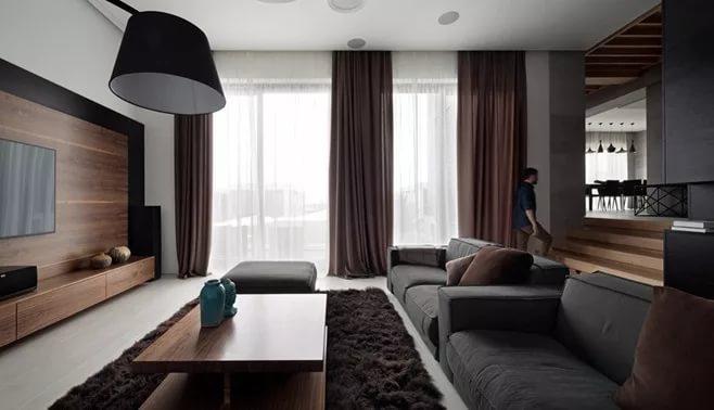 Дизайн квартиры-студии в темных тонах