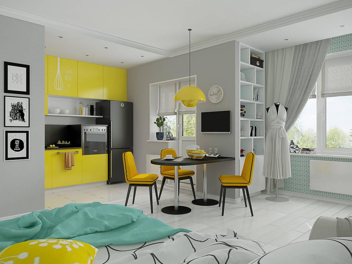 Дизайн квартиры-судии в бело-желтых тонах