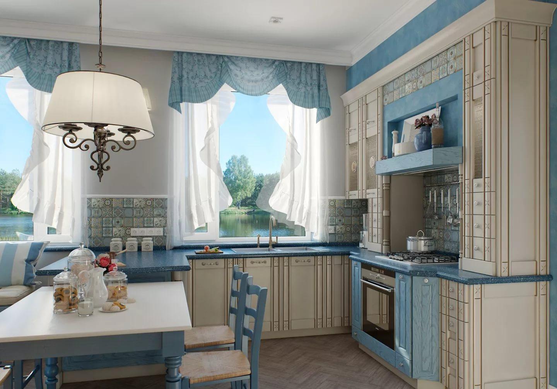 Дизайн кухни в однокомнатной квартире в бего-голубых тонах