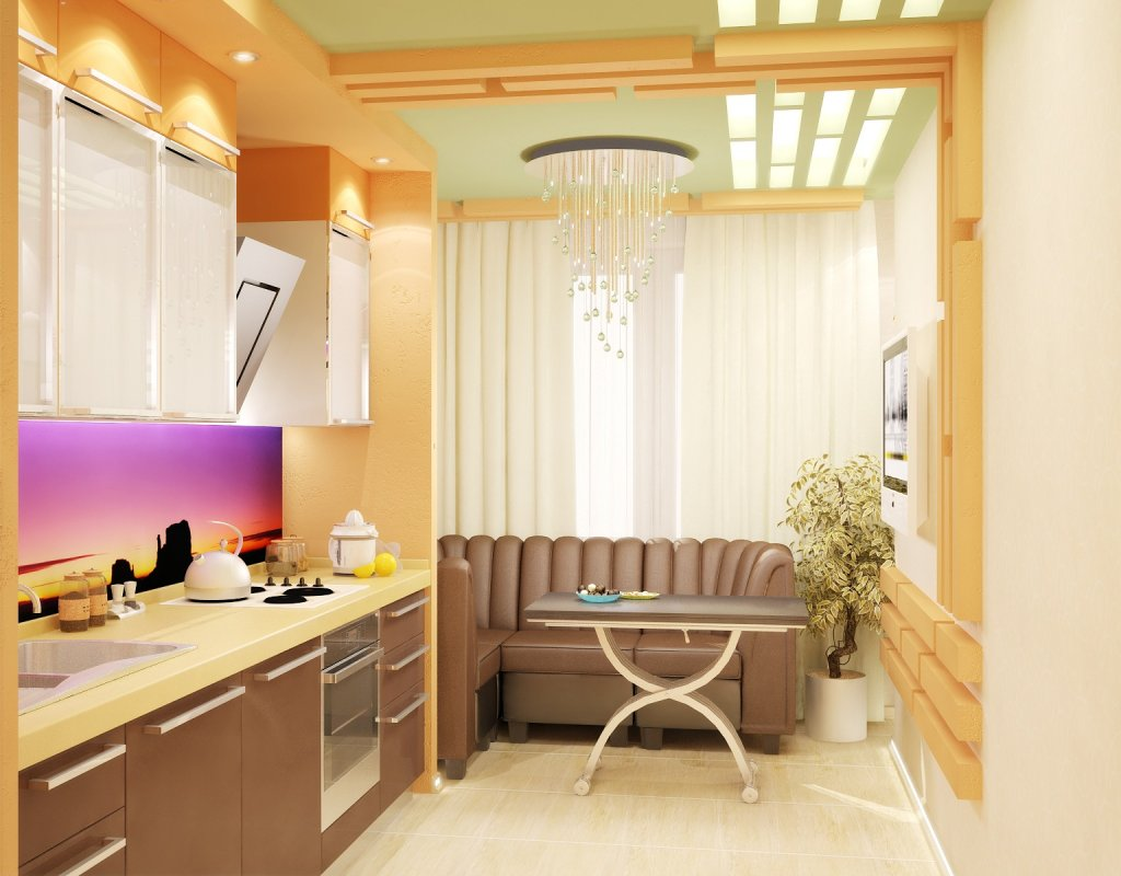 Зонирование кухни 10 кв.м. объединенной с балконом