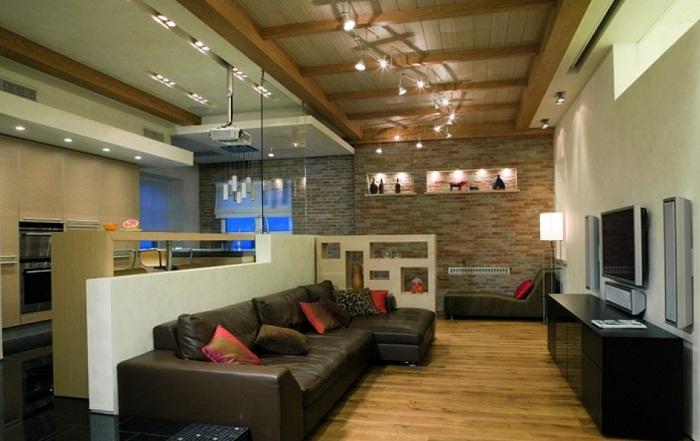 Идея по дизайну трехкомнатной квартиры в стиле лофт