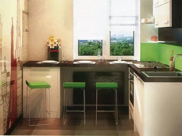 Использование подоконника на кухне малогабариной квартире