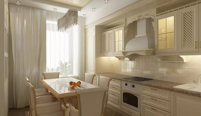 Классический стиль на кухне 10 кв.м