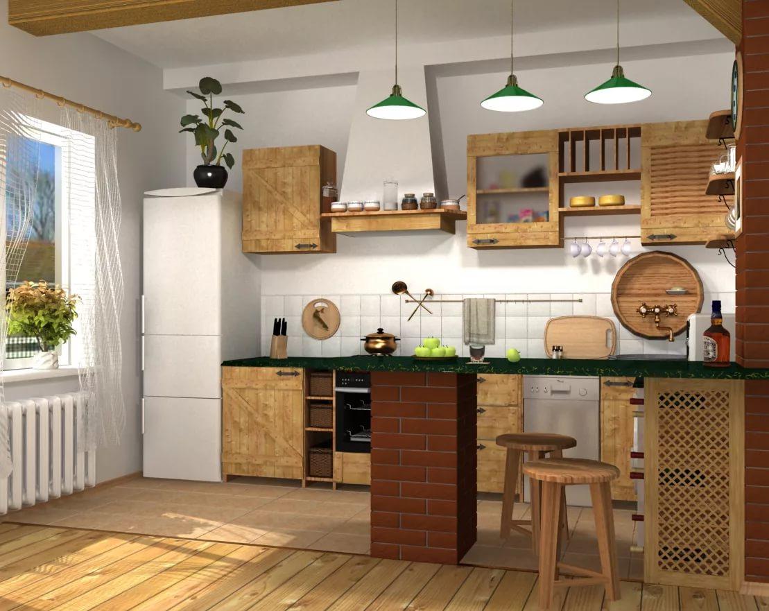 Кухня в трехкомнатной квартире в стиле кантри