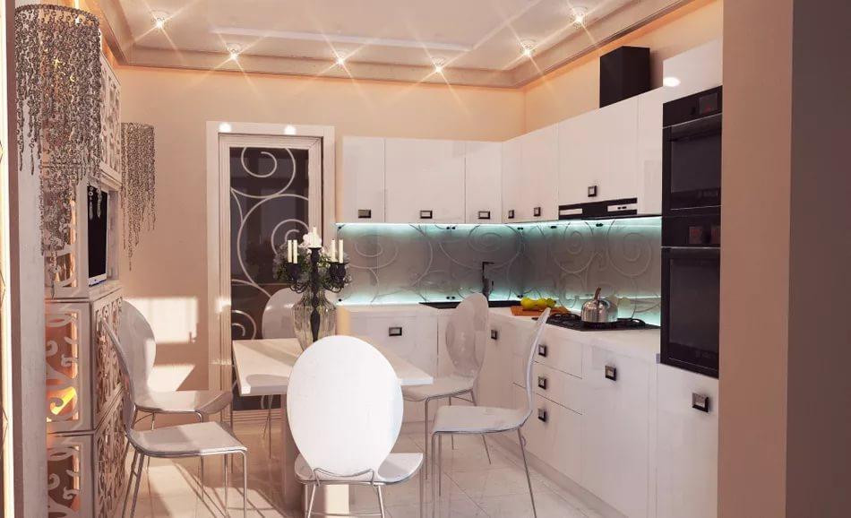 Кухня в трехкомнатной квартире в стиле модерн