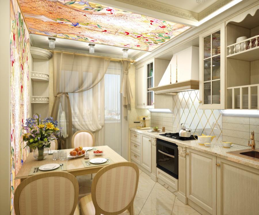 Кухня в трехкомнатной квартире в стиле прован