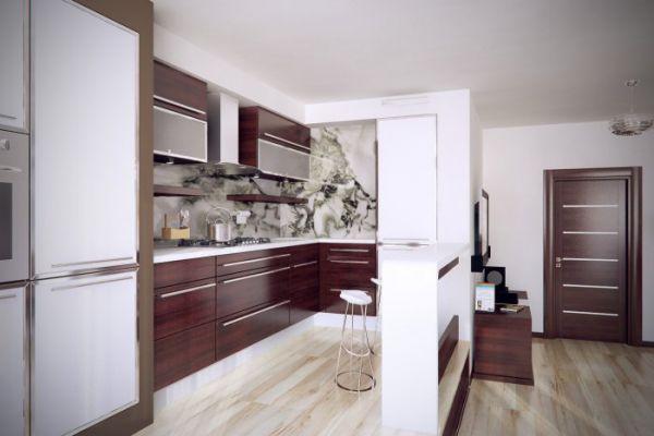 Кухня совмещенная с прихожей в однокомнатной квартире