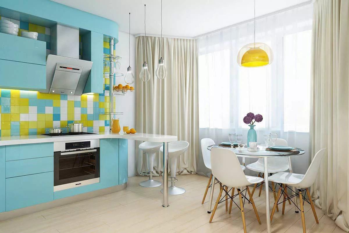 Кухня 10 кв.м. в голубых тонах