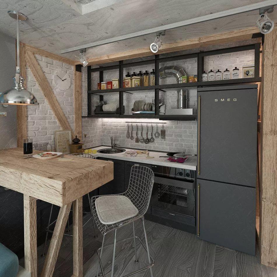 Мебель в стиле лофт в малогабаритной квартире