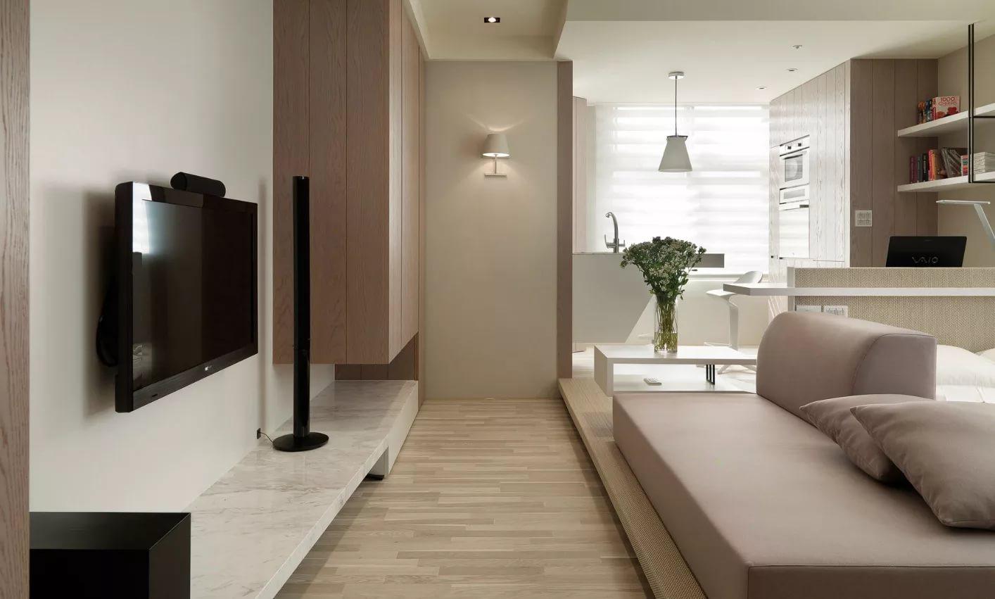 Мебель для квартиры-студии в светлых тонах