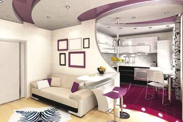Многоуровневые потолки в дизайне квартиры-студии