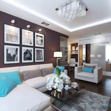 Натяжные потолки в трехкомнатной квартире в стиле модерн