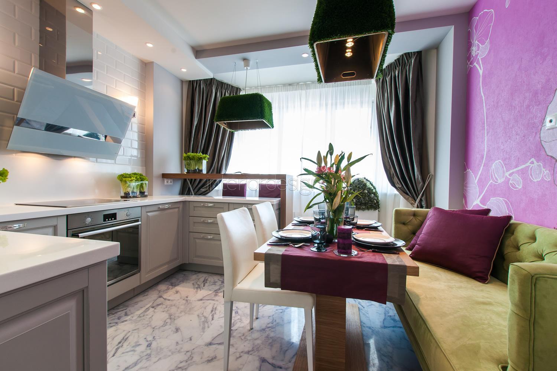 Обденный стол в интерьере кухни 10 кв.м.