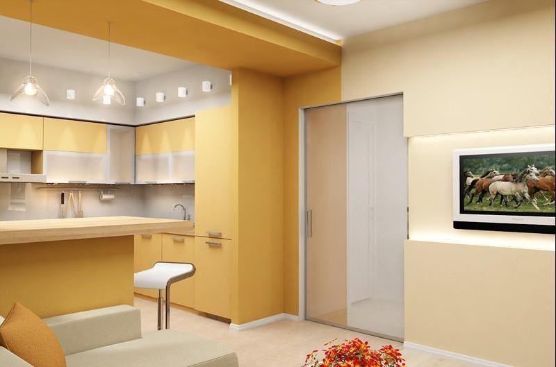 Объединение кухни с прихожей однокомнатной квартире