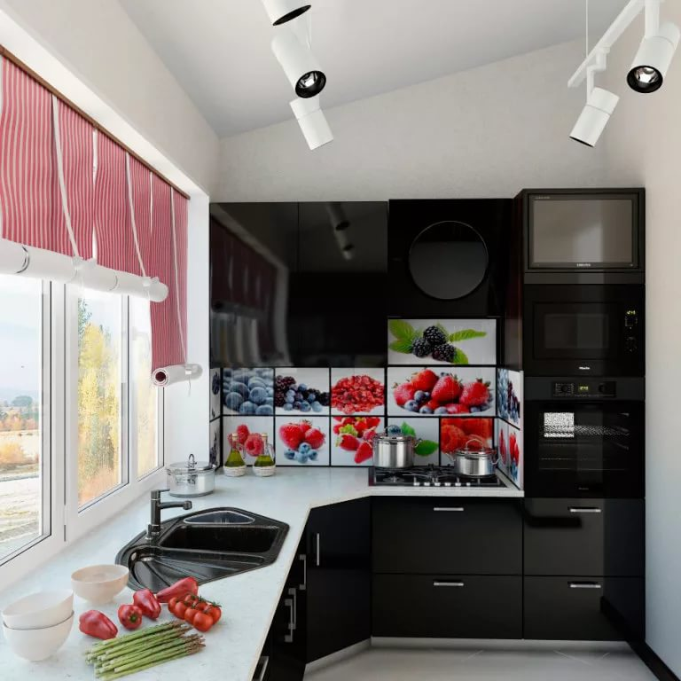 Оригинальная кухня на балконе в квартире-студии