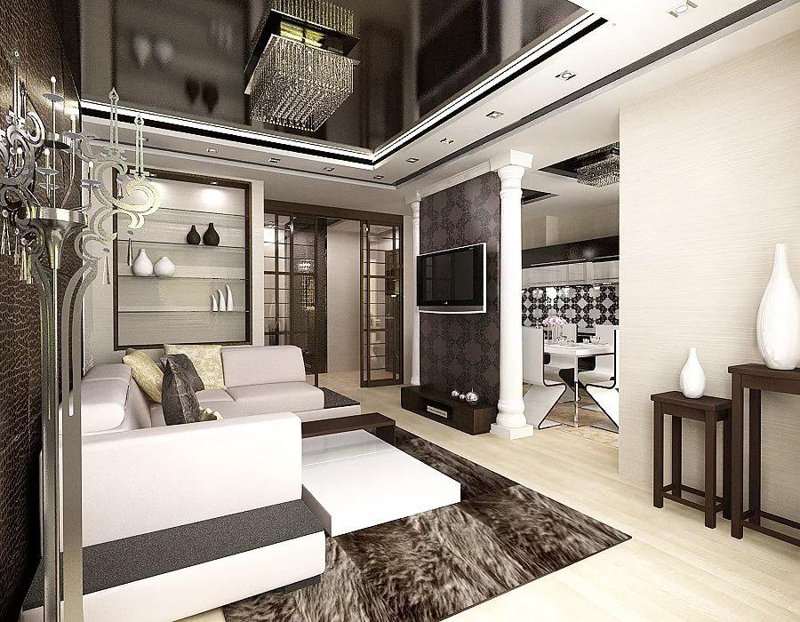 Оригинальное оформление трехкомнатной квартиры в контрастных тонах