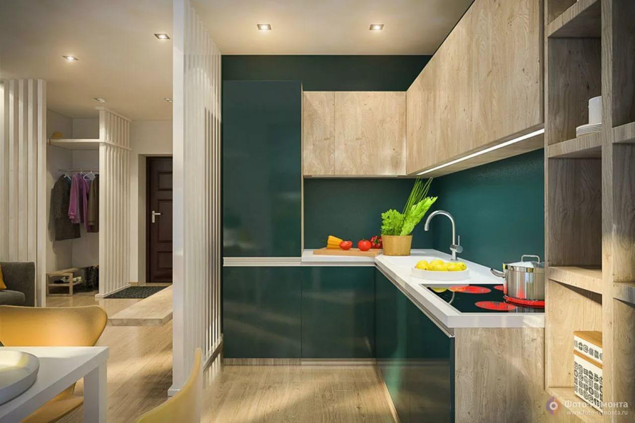 Оригинальный дизайн кухни в однокомнатной квартире