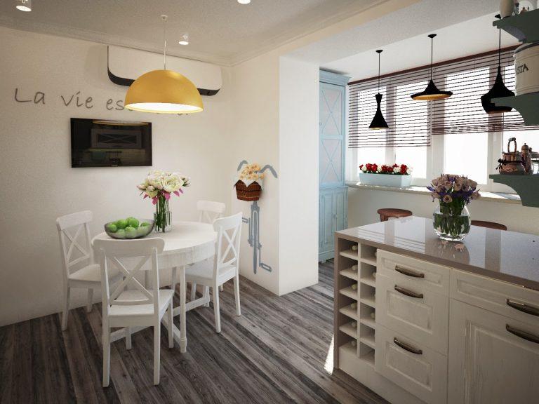 Оригинальный дизайн светлой кухни 10 кв.м