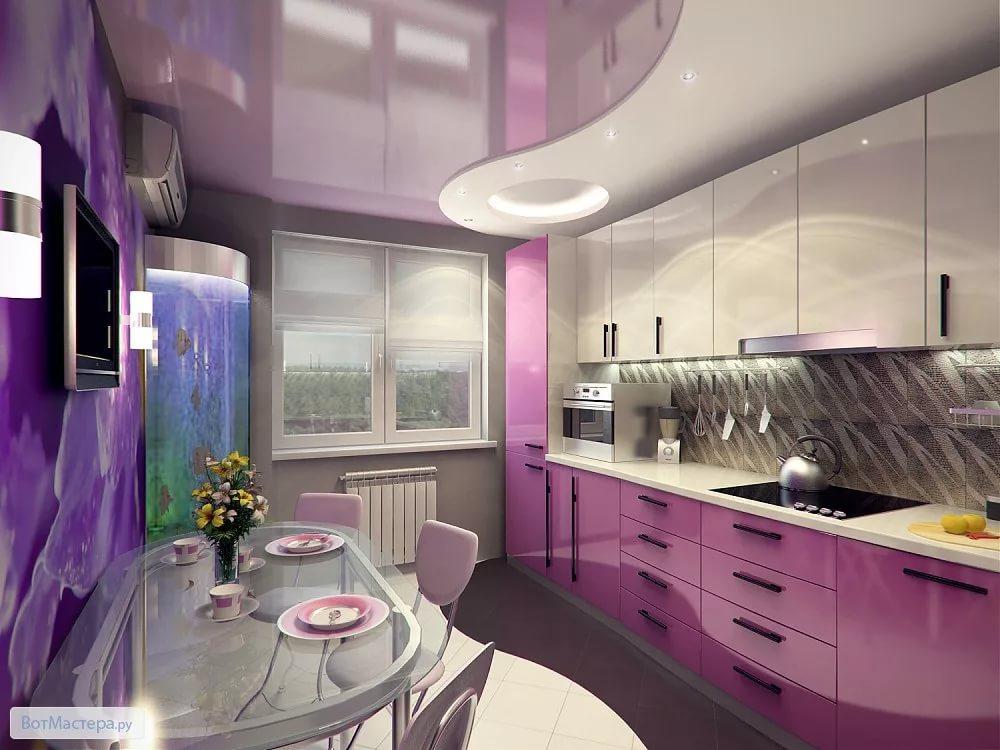 Оформление кухни 10 кв.м в сиреневых тонах