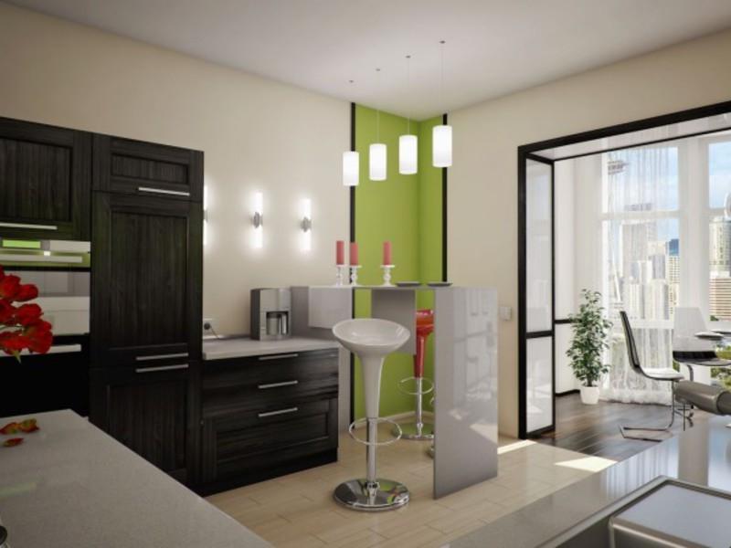 Перепланировка при объединеии кухни с лоджией в квартире-студии