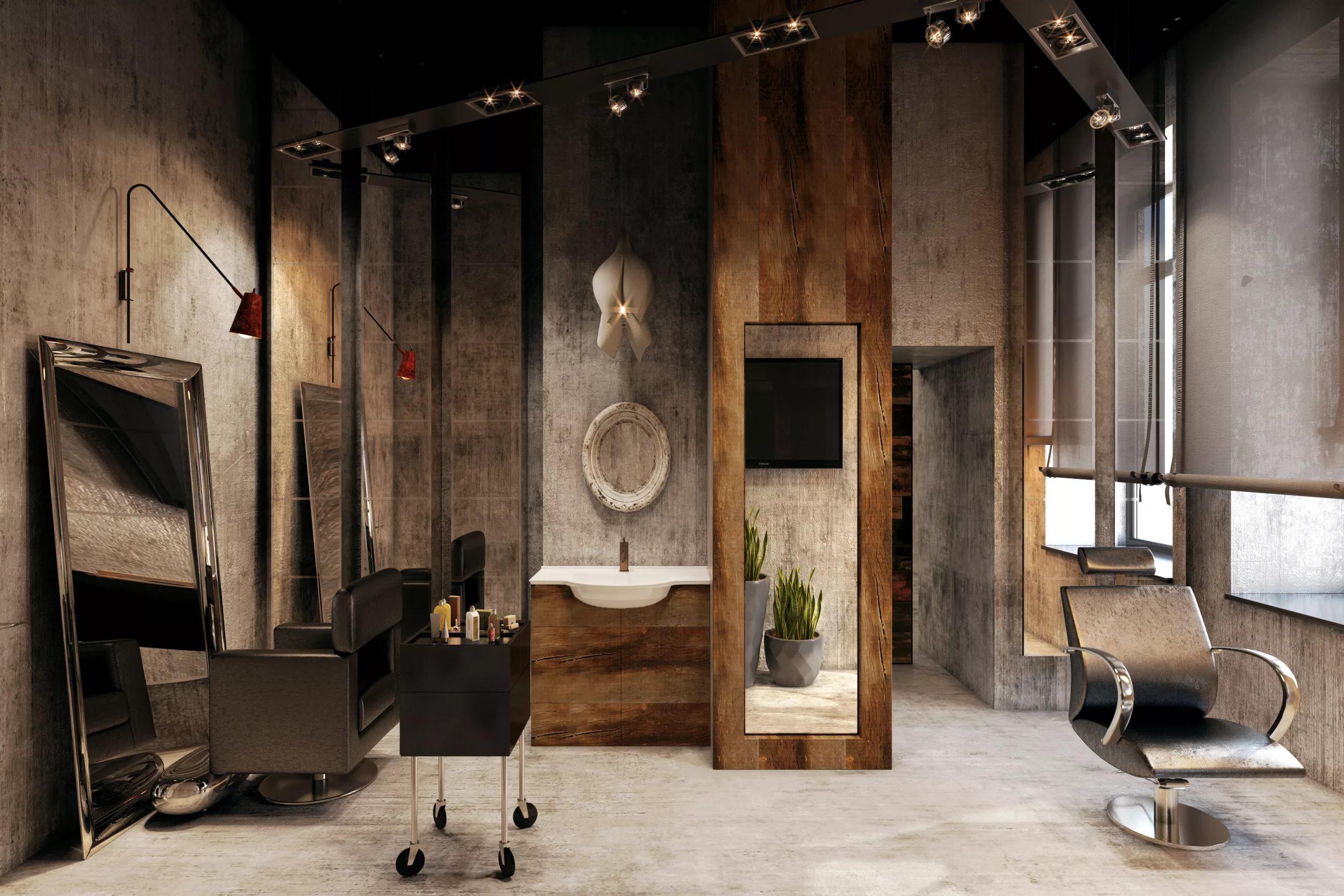 Полы в интерьере мухского салона красоты в стиле лофт