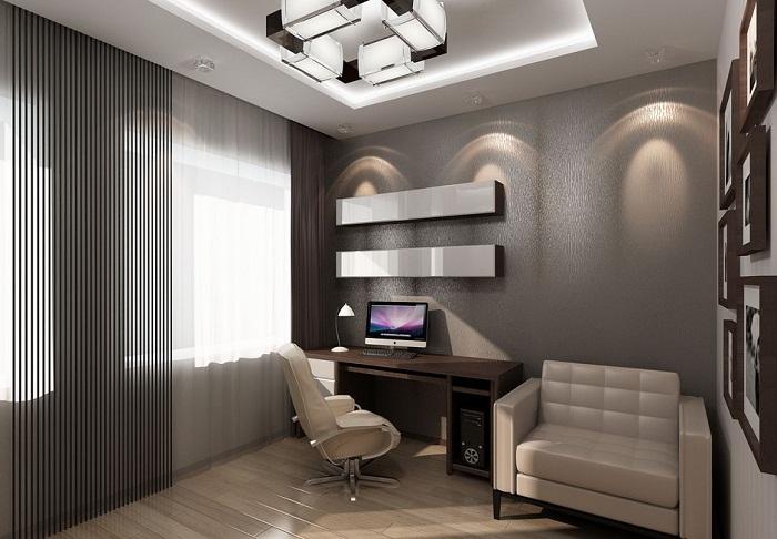 Рабочий кабинет в трехкомнатной квартире