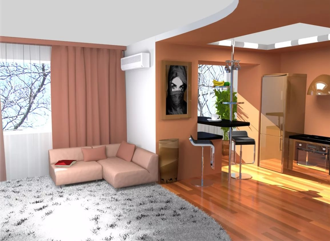 Снос стены мехду гостинной и кухней в трехкомнатной квартире