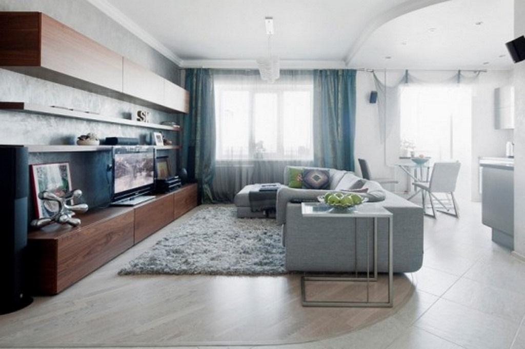 Совмещение гостиной и кухни в однокомнатной квартире