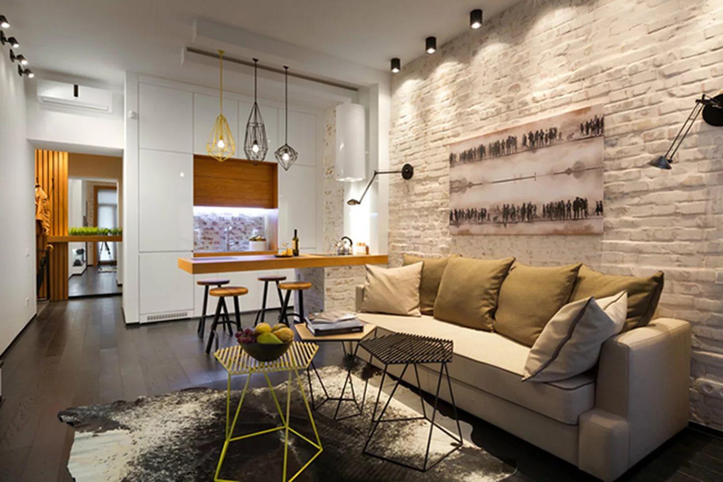 Стены и потолок малогабаритной квартиры в стиле лофт