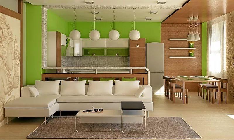 Столовая зона на кухне в однокомнатной квартире