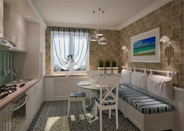 Текстиль в интерьере кухни в однокомнатной квартире