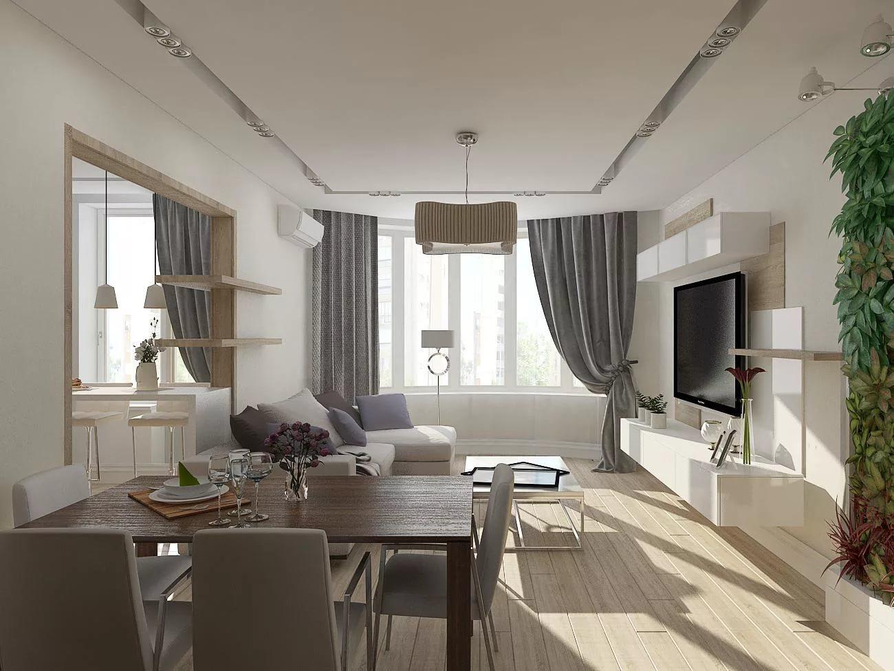 Трехконатная квартира в стиле модерн
